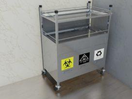 Xe đẩy tiêm 3 ngăn chứa rác