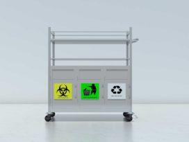 Xe đẩy tiêm có hộc phân loại rác hiện đại